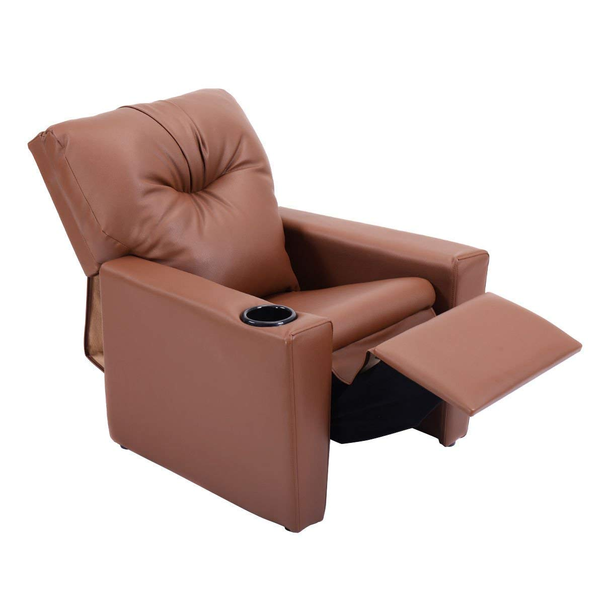 HONEY JOY Kids Recliner Chair Manual PU Leather Reclining Seat w/Cup Holder (Black)