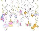 #9: 30 Ct Unicorn Hanging Swirl Decorations-Unicorn Party Decorations-Unicorn Birthday Party Supplies