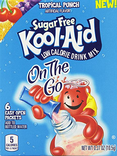 Kool-Aid Sugar Free On The Go Drink Mix, Tropical Punch, .37 Ounce (Pack of 12)