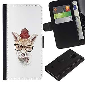 KLONGSHOP // Tirón de la caja Cartera de cuero con ranuras para tarjetas - Hipster Fox lindo - Samsung Galaxy S5 Mini, SM-G800 //