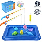 TEPSMIGO Magnetic Light Up Fishing Toy with Inflatable Pool, 6 Large Sea Characters + 2 Rod + 1 Mesh Bag, Ideal Game for Kids Age 3, 4, 5, 6 Year Old Toddler Boys, Girls