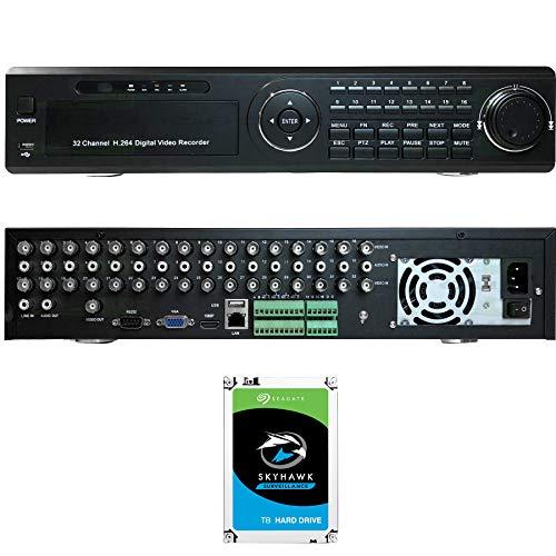 Urban Security Group 32 Channel DVR + 6TB Hard Drive : BNC HD-TVI, HD-CVI, AHD, Analog, IP Cameras Supported : 32x BNC, 8X SATA, Ultra 4K HDMI, VGA, BNC, UTC, RCA Audio, Phone App, Business Grade