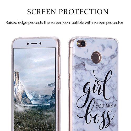 Funda Xiaomi Redmi 4X, Carcasa Redmi 4X, RosyHeart Suave Transparente TPU gel Silicona Cover con patrón de Mármol Premium Delgado Flexible a prueba de caídas Caja Protector Bumper para Xiaomi Redmi 4X girl boss