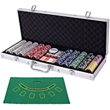 Costzon Poker Chip Set, 11.5 Gram with Aluminum Case, 5 Dice Chips, 2 Decks of Playing Cards, Dealer Buttons