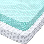 Playard Sheets, 2 Pack Mint Quatrefoil & Elephants Fitted Soft Jersey Cotton