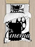 Ambesonne Movie Theater Twin Size Duvet Cover Set, Monochrome Cinema Projector inside a Strip Frame Abstract Geometric Pattern, Decorative 2 Piece Bedding Set with 1 Pillow Sham, Black White