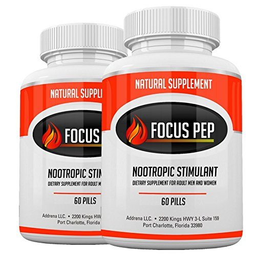 Addrena Focus Pep 2 Pack- Over The Counter Stimulants to Speed Up Naturally: Study Alternative and Best Energy Supplements for Nootropic Brain Boosting, 1207 mg, 60 Pills