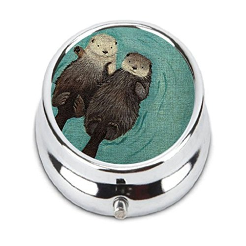 Two lovely sea otter Custom Fashion HOT Round Pill Box stainless steel Useful Medicine Organizer Box Gift