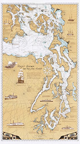 Sobay Map L001 - Puget Sound & San Juan Islands Chart - 30x54 Wall Map - Paper or Laminated (Vinyl)