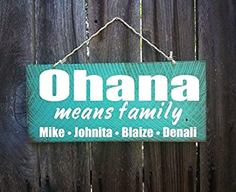 Cartel Personalizado de Ohana para la Familia, con Texto en ...