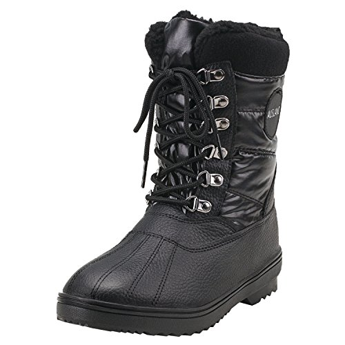 Shenda Women's Mid-Calf Lace Up Nylon Fabric Snow Boots E7625