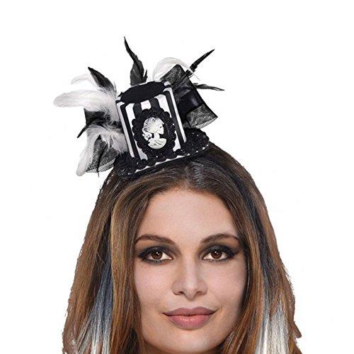 [Fashion Headband Costume Accessory] (White Top Hat Fascinator)
