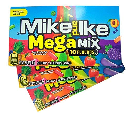 - Mike and Ike Mega Mix Chewy Fruit Flavored Candies, 5 oz, Pack of 3