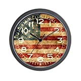 CafePress – American Flag Grunge – Unique Decorative 10″ Wall Clock For Sale