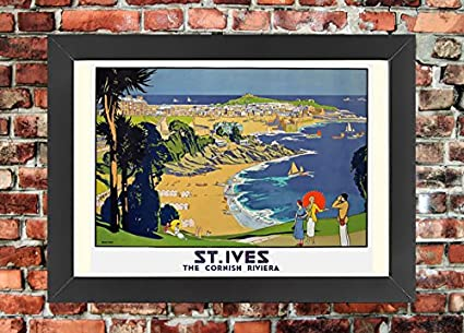 TX367 Vintage St.Ives Cornwall Riviera Framed Travel Railway Poster A3//A4