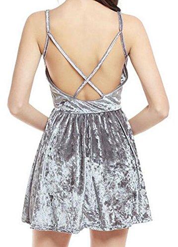 Backless Neck Strape Velvet Dresses Cromoncent Womens Swing V Spaghetti Silver FwXp7qY