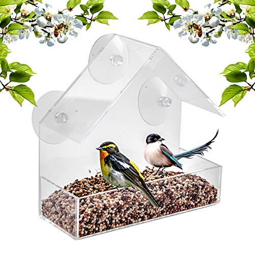 Window Bird Feeder - Built To Last A Lifetime - Decorate Your House with Beautiful Wild Birds - 100% Clear Acrylic Plastic with 3 Strong Extra Suction Cups Included -IMPROVED VERSION-Great Gift Idea