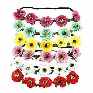 6 PCS Women Artificial 1.83 Inches Cherry Blossom Flower Headbands Crown Floral Headdress for Bridal Festival Wedding 45
