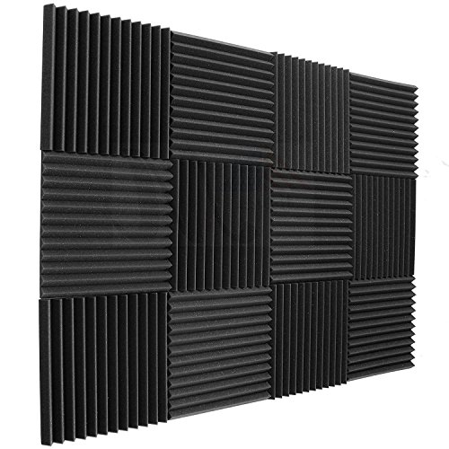 12 pack Acoustic Panels - Acoustic Foam Panels - Sound Proof Studio foam Sound Dampening noise Sound Deadening foam Sound Panels wedges Soundproof Sound Insulation Absorbing 1''x12''x12 by Siless