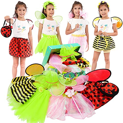 Toycost Girls Princess Dress up Trunk Ladybug, Bee, Butterfly, Green Fairy Role Play Costume Set for Little Girls Toddler Aged 3-7
