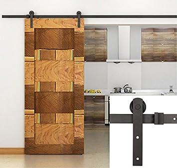 Erfect 6.6 FT Basic Barn Straight Door Hardware Sliding Door Track Kit