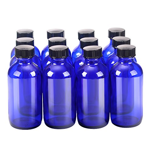12 pack 4 oz 120 ml Cobalt Blue Glass Boston Bottle Bottles with Black Phenolic Cone Lined Caps,Perfect Reusable Bottles for Essential Oils,Cleaning ()