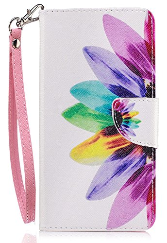 Nokia 6 Case, Nokia 6 Wallet Case, JanCalm [Wrist Strap] [Kickstand] [Card/Cash Slots] Pattern Premium PU Leather Wallet Cell Phone Cases Flip Cover for Nokia 6 + Crystal Pen (Rainbow Flower)
