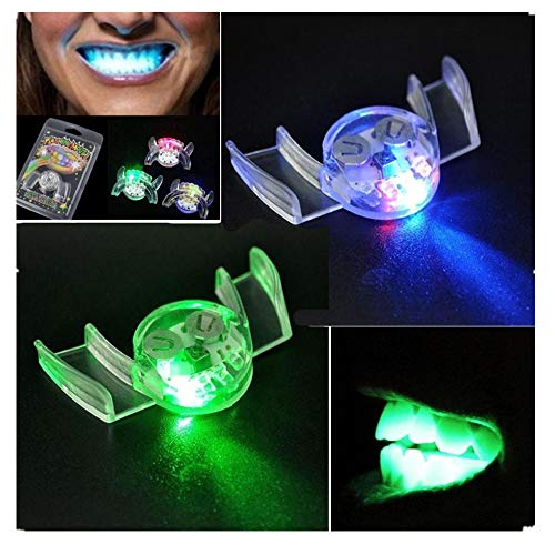 weiyun Vampire Teeth Makeup Cosplay Props Tricks Toy ,Flashing LED Light up Mouth Braces Piece ,Glow Teeth for Halloween Party Rave ,Cheap Stuff Set of 10 -