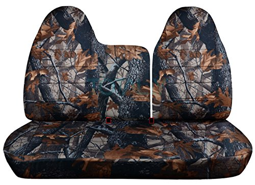 1997-1998 Ford F-150 F-250 Camo Truck Seat Covers (Front 40/60 Split Bench) No Armrest/Console: Gray Real Tree Camouflage (16 Prints) F-Series F150 ()