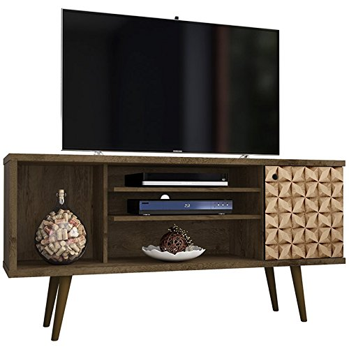 Manhattan Comfort 200AMC97 Liberty Mid-Century Modern Living Room TV Stand, Small, Brown/3D ()