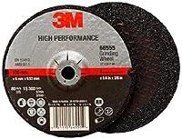 "3M High Performance Depressed Center Grinding Wheel T27 66555, Ceramic, 4"" Diameter, 1/4"" Thick, 3/8"" Arbor, 36+ Grit, 15300 rpm (Case of 10)"