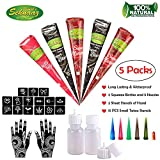 COKOHAPPY Temporary Indian Tattoo Kit, 5 Tube 3 Color Paste Cone Body Art