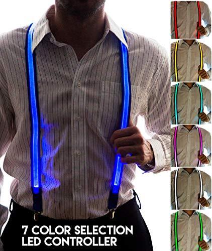 Neon Nightlife Men's Light Up LED Suspenders, 7 Color Selection LED Battery Pack, One Size