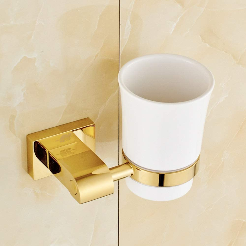Luxury Brass Wall Mounted Double Toothbrush Cup Tumbler w// Holder Chrome+K Gold