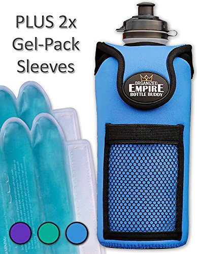- Organized Empire Neoprene Insulated Water Bottle Holder w/Strap + 2 Freezable & Microwave Gel-Pack Sleeves - Travel Cooler or Baby Bottle Warmer. Sports Drink Carrier Protects Stainless Steel - Blue