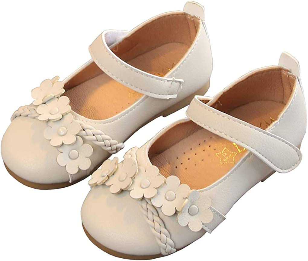 lakiolins Toddler Girls Beads Flowers Mary Jane Flats Braided Ankle Straps Dress Shoes