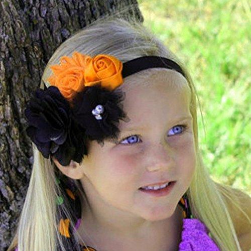 Botrong_Baby Baby headband, Girls Halloween Headband Bow Elastic Hair Head Hairband Phtography Props (D)