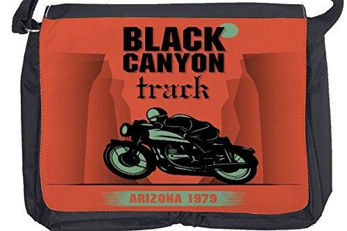 Borsa Tracolla Avventuriero Pista di Canyon nero Stampato