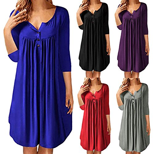 Huhu833 Damen Kleid Damen Einfarbig Reihe Plissee Button Geraffte ...