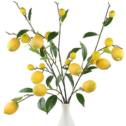 Yellow Artificial Spray - Rinlong 3pcs Fake Lemon Sprays for Kitchen Decoration 24 Yellow Artificial Lemon Fruits Home Garden Floral Party Décor
