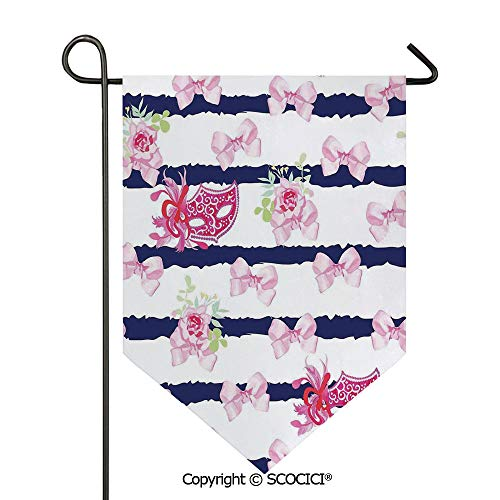 (SCOCICI Easy Clean Durable Charming 12x18.5in Garden Flag Venetian Style Carnival Masks on Stripes with Satin Bows Roses Flowers,Pink White Blue Double Sided Printed,Flag Pole NOT Included)