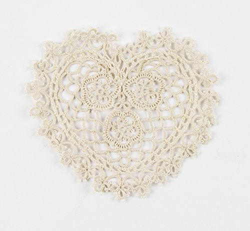 "Fennco Styles Handmade All-over Tatting Lace Heart Shaped Doily 100% Cotton - Set of 4 (6"" Heart Doily, Ecru)"