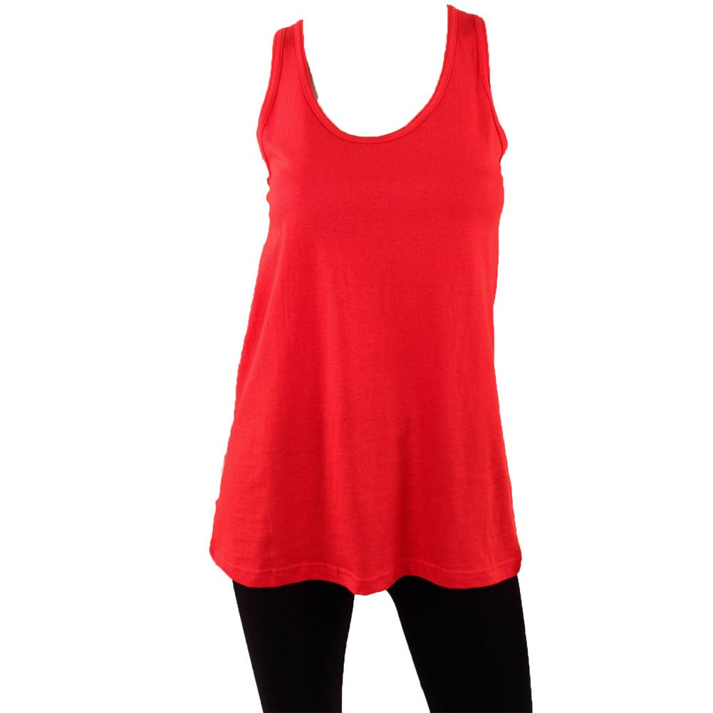 Sofra Women's Loose Fit Tank Top Relaxed Flowy Red Medium