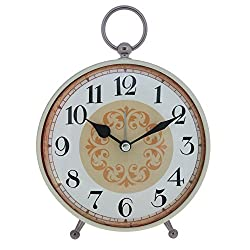 Konigswerk Vintage Retro Old Fashioned Decorative Quiet Non-ticking Sweep Second Hand, Quartz Analog Large Numerals Desk Clock, Battery Operated, Loud Alarm (AC118G)
