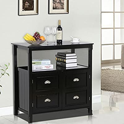go2buy Black Gloss Buffet Sideboard Cabinet Table Drawer Door Open Display Shelf Cupboard Dining Room Furniture