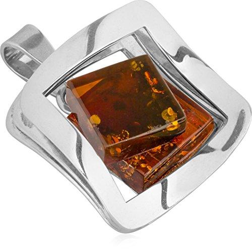 Ambre Argent sterling moderne Grand carré Pendentif chaîne 46cm