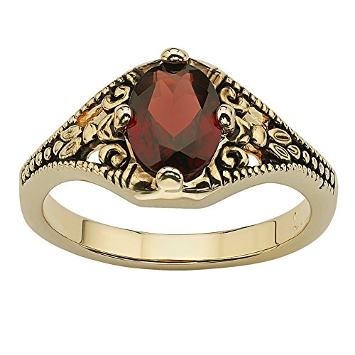 Palm Beach Jewelry 14K Yellow Gold Plated Antiqued Oval Cut Genuine Red Garnet Vintage Style Ring Size 7 (Oval Ring Antique)