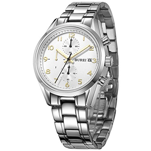 BUREI Luxury Classic Elegant Mens Chronograph Watch Stainless Steel Bracelet 50M Water-Resistant (White dial & Gold Hand)