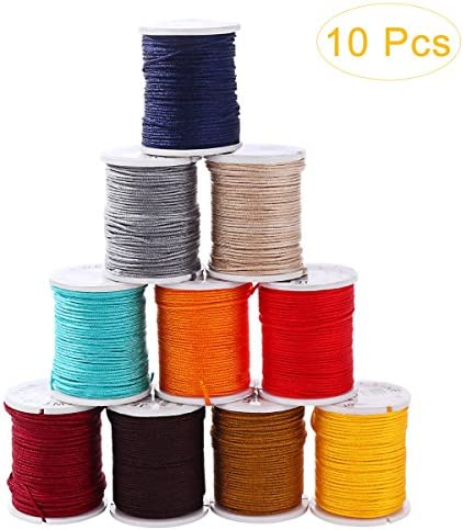 Healifty 10 Rollen Nylon Seil Schnur Faden Schmuck für DIY Halskette Armband Handwerk Bastel Schmuckherstellung(Zufällige Farbe)