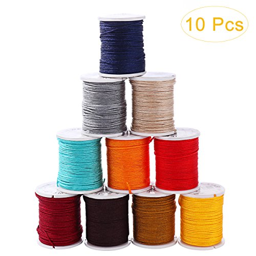 SUPVOX Chinese Knotting Cord Nylon Thread Beading String Wire Macrame Thread Cord for Necklace Bracelet 10 Mixed Colors 0.8mm